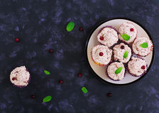 Lemon cupcakes with cherry cream. Cranberry, mint leaves. Food on a dark background. Top view Stock Images