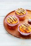 Lemon cupcakes with chocolate frosting Stock Photos