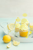 Lemon cupcakes. Decorated with lemon cupcake toppers Royalty Free Stock Photos