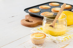 Lemon cupcakes preparation and ingredients Royalty Free Stock Images