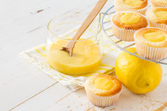 Lemon cupcakes preparation and ingredients Stock Photography