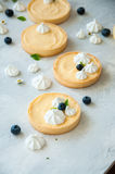 Lemon curd and blueberry jam tarts Stock Image