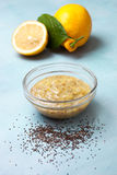 Lemon curd chia pudding Stock Photo