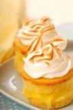 Lemon curd cupcakes. Fresh lemon curd cupcakes with vanilla meringue Stock Images
