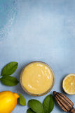 Lemon curd in a glass bowl Royalty Free Stock Photo