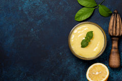 Lemon curd in a glass bowl Royalty Free Stock Photography