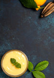 Lemon curd in a glass bowl Royalty Free Stock Image