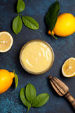 Lemon curd in a glass bowl Stock Image