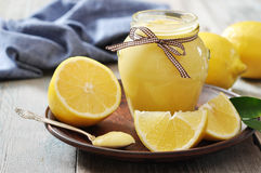 Lemon curd in glass jar Stock Image
