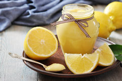 Lemon curd in glass jar Stock Images