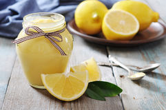 Lemon curd in glass jar Royalty Free Stock Image