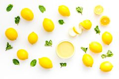 Free Lemon Curd In Bowl Among Lemons On White Background Top View Royalty Free Stock Photo - 112792365