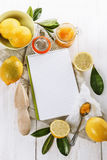 Lemon curd over white wooden background Stock Photos