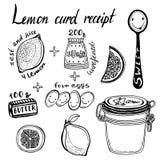 Lemon Curd receipt, vector illustration. Hand Stock Photo