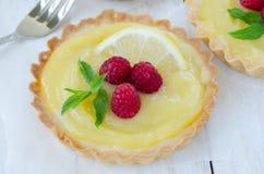 Lemon curd tartlet royalty free stock photos