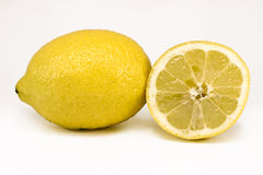 Lemon and a cut Royalty Free Stock Images