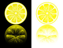 Lemon cut on a black and white. Lemon cut on a black and white background with reflection. Vector Royalty Free Stock Photography