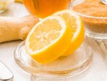 Lemon cut on the breakfast table Stock Photo
