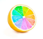 Lemon cut half slice with color wheel isolated Stock Image