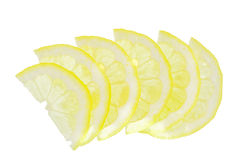 Lemon cut by thin segments Royalty Free Stock Images