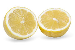 Lemon cut on two parts. On a white background Royalty Free Stock Image
