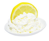 Lemon Cut in Whipped Cream Stock Photos