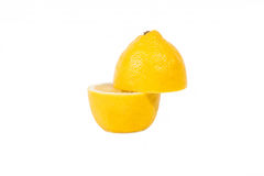 Lemon in a cut on a white background Stock Photo