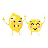 Lemon. Cute fruit vector character couple isolated on white background. Funny emoticons faces. Illustration. Stock Photos