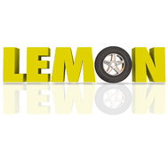 Lemon 3d Word Yellow Letters Defective Car Vehicle Recall. Lemon word in yellow 3d letters with a car wheel or tire to illustrate a bad or defective automobile Stock Photos