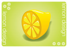 Lemon design vector. On green background and white elements Stock Photos
