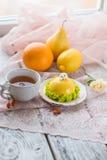 Lemon dessert with citrus royalty free stock photos