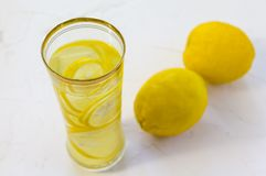 Free Lemon Detox Water With Lemon On The Table Stock Images - 108798694