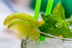 Lemon drink with lemnon, mint and ice Royalty Free Stock Photography