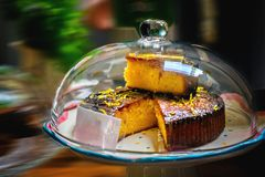 Lemon drizzle cake on a plate. Close up stock photo