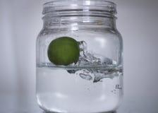 Lemon drop in bottle water. Stock Photography