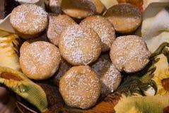 Lemon Drops 1. Fresh home lemon drop mini muffins displayed in a basket Royalty Free Stock Images