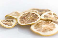 Lemon Dry. Cut lemon, tan dry, is used to flood damage drinking Royalty Free Stock Photos