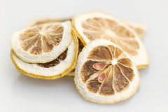 Lemon Dry. Cut lemon, tan dry, is used to flood damage drinking Stock Images