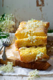 LEMON  and ELDERFLOWER DRIZZLE CAKE. Stock Photography
