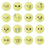 Lemon emoticon - face action cartoon cute to draw the line Stock Photo