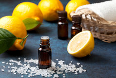 Lemon essential oil Royalty Free Stock Images