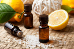 Lemon essential oil Stock Images