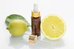 Lemon essential oil. Aromatherapy stock photos