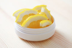 Lemon face cream Royalty Free Stock Images