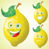 Lemon face expression cartoon character set Royalty Free Stock Photo