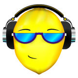 Lemon face in headphones. Vector lemon icon in headphones and sunglasses stock illustration