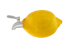 Lemon with a faucet Royalty Free Stock Photo