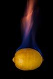 Lemon on fire Royalty Free Stock Photography