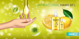 Lemon flavor Antibacterial hand gel ads. Vector Illustration with antiseptic hand gel in bottles and lemon elements. Horizontal banner Royalty Free Stock Images