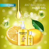 Lemon flavor Antibacterial hand gel ads. Vector Illustration with antiseptic hand gel in bottles and lemon elements. Poster Royalty Free Stock Photo